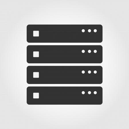 meseros: Icono del ordenador servidor, diseño plano