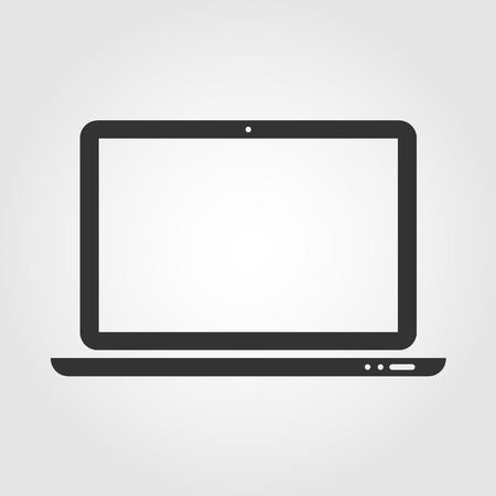 Laptop web icon, flat design