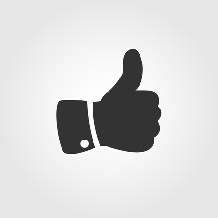 Thumb up icon, flat design  Иллюстрация