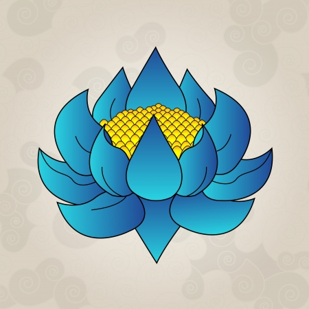 Blue lotus, japanese tattoo Illustration
