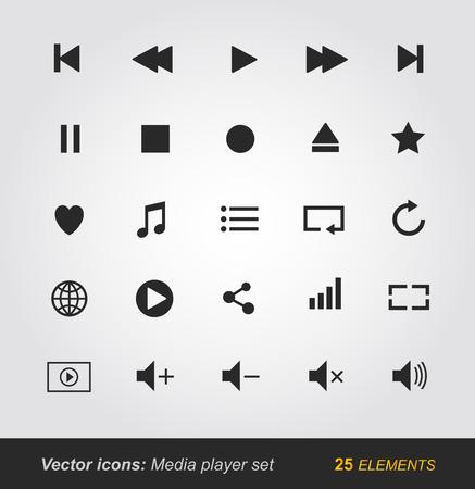 media player: Media player icons set