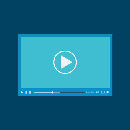 hd video: Video player for web, flat design