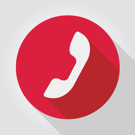 Phone icon red, flat design Vector