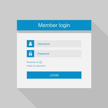 벡터 로그인 인터페이스 - 사용자 이름과 암호, 평면 디자인
