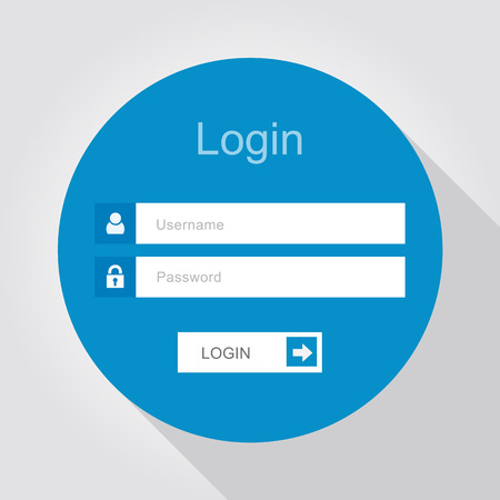 online form: Login interface - username and password, flat design