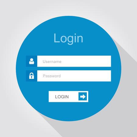 Login-Schnittstelle - Benutzernamen und Passwort, flache Bauweise