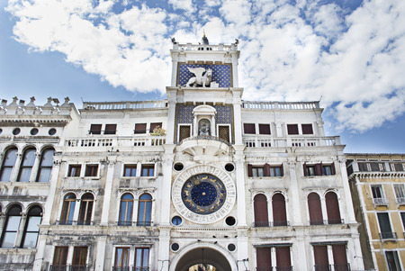 vented: The clock tower of St  Mark  Torre dell Orologio  in Venice, Italy Stock Photo
