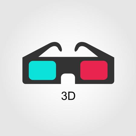 stereoscope: Modern 3D cinema glasses, flat design