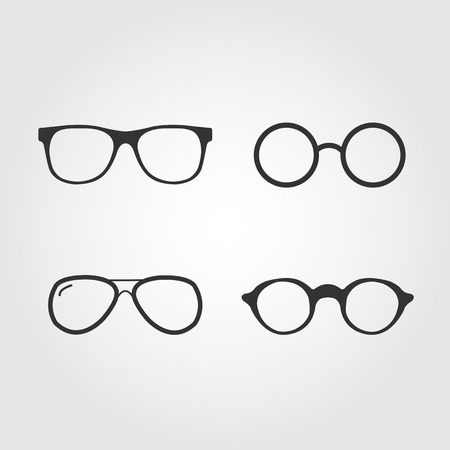 Set of vector glasses, flat design