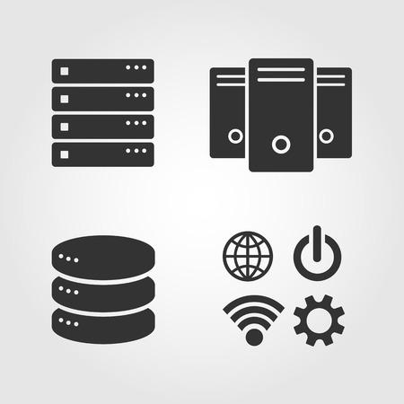 컴퓨터 서버 아이콘을 설정, 평면 디자인 일러스트