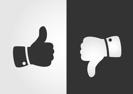 thumb up: Like and dislike icon, flat design