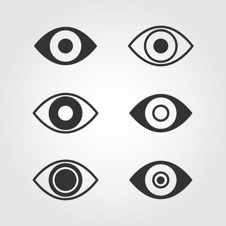Eye icons set, flat design