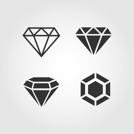 coeur en diamant: Icônes diamant serti, conception plat