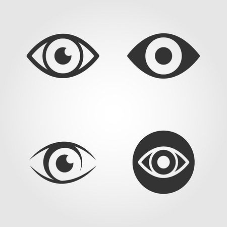 medicine icons: Eye icons set, flat design