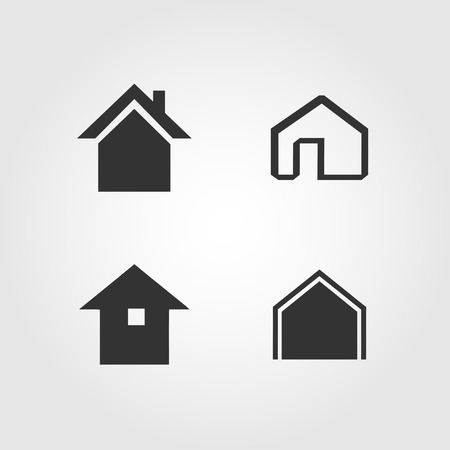 Vector. House icons set, flat design Illustration