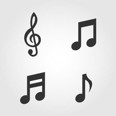 bass clef: Notas de la música iconos conjunto, de diseño plano