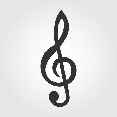 treble clef icon, flat design