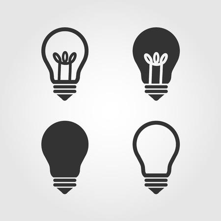 Light bulb icons set, flat design
