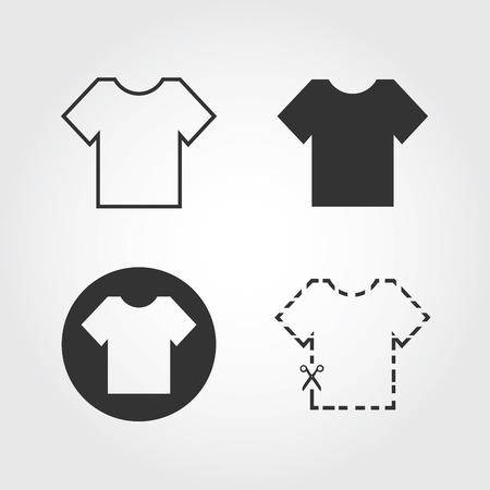 t-shirt icons set, flat design