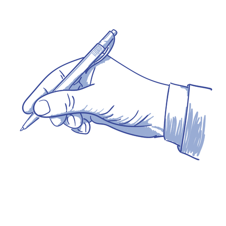 feathe: hand with pen writing in blue on a white background vector illustration