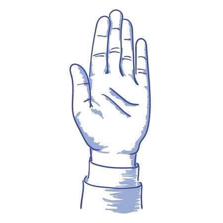 hief zijn linkerhand omhoog stem blauw vector illustratie