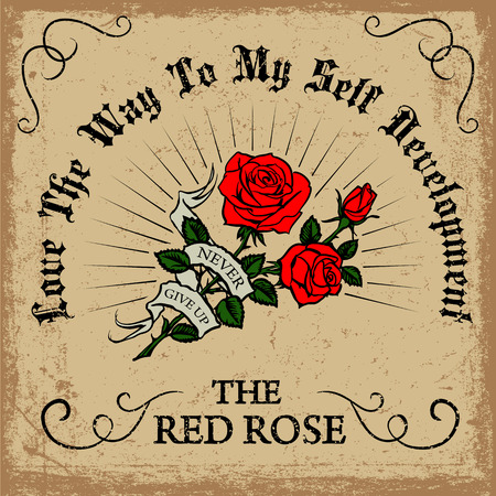 red rose background: retro vintage red rose background with typography