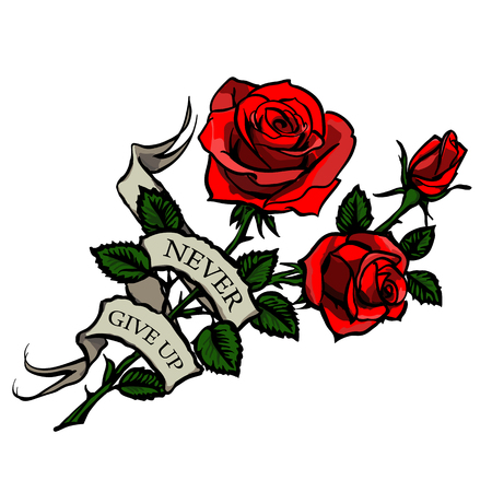 tattoo with red roses and vintage ribbon with lettering