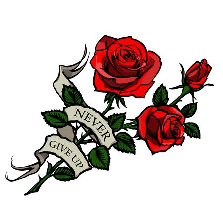 Tatouage avec des roses rouges et ruban vintage avec lettrage Banque d'images - 54597651