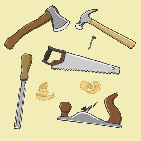 carpenter tools: carpenter tools ax hammer handsaw chisel plane Illustration