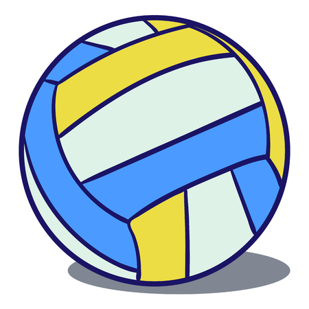 leather ball: Tricolor volleyball leather ball blue, yellow  on a white background