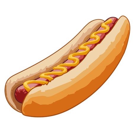 cooked sausage: hot dog with mustard and cooked sausage Illustration
