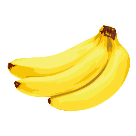 bannana: yellow banana fruit on white background illustration Illustration