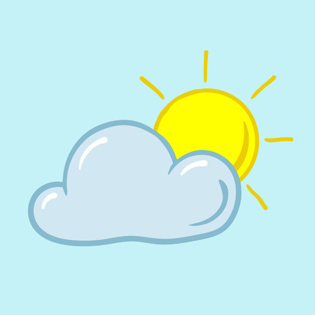partly sunny: partly sunny weather icon sun from behind the clouds