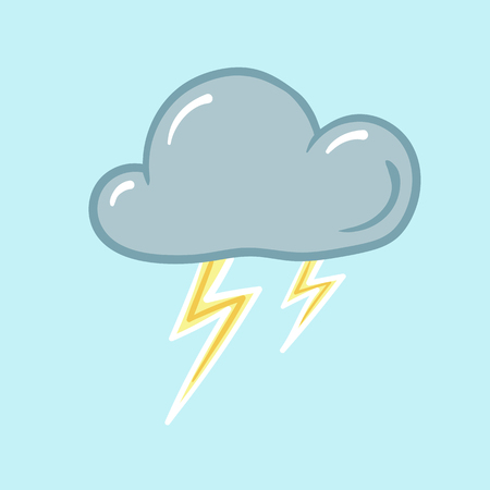 lightning storm: thunderstorm weather icon on a blue background lightning storm