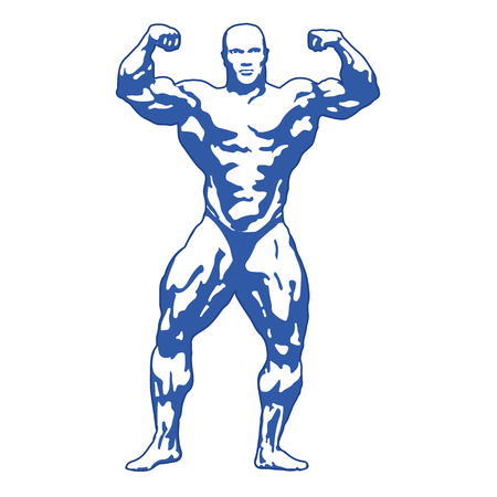 pectoral: bodybuilder posing muscular man athlete illustration