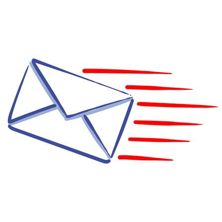 express mail message web line icon sending a message Иллюстрация