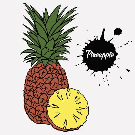 flesh: ripe juicy pineapple and sliced pineapple yellow flesh