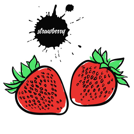 Isolated eco natural food berry red strawberry Illustration