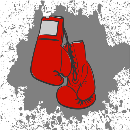 two red boxing gloves laced related freehand drawing Illustration