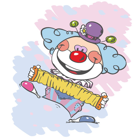 circus clown artist in classic outfit with red nose and makeup circus show playing the accordion