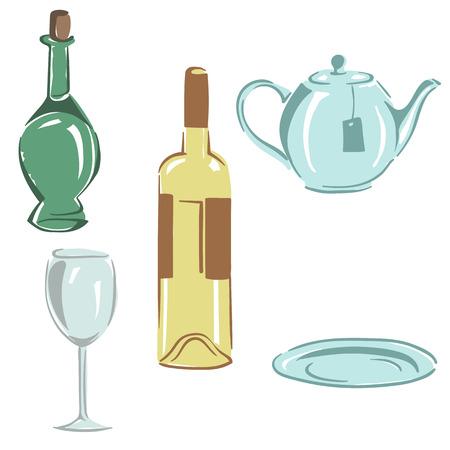 set kitchen utensils wine bottle wineglass oil bottle teapot saucer