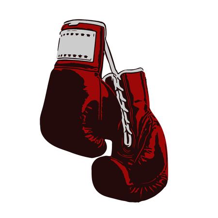 knocking: old boxing gloves hang on nail on wal