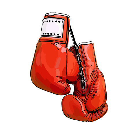 champion red boxing gloves ready for a fight Illustration