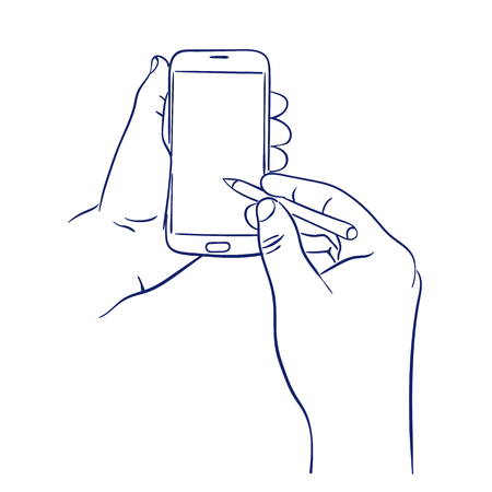 handheld device: smart phone control with stylus Illustration