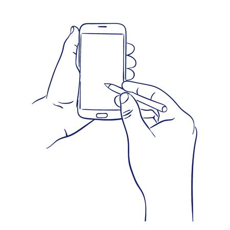 smart phone control with stylus Illustration