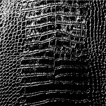 Distressed overlay texture of crocodile or snake skin leather, grunge vector background