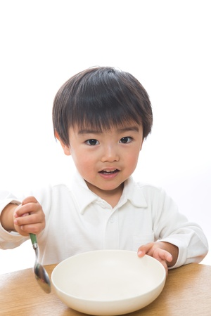 The child who eats food photo