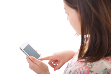 Young woman to see a smartphone Stock Photo