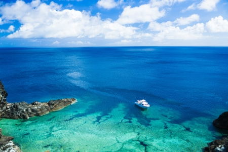 ship and coral reef in the southern country