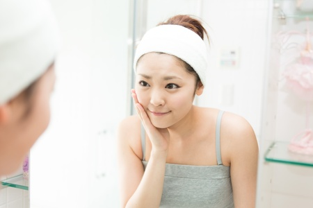 attractive asian woman skin care image photo